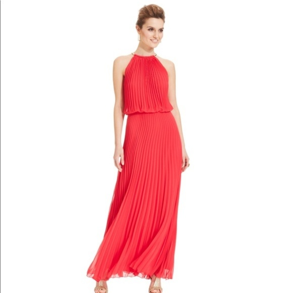 Xscape Dresses | Red Pleated Maxi Dress Size 10 | Poshmark